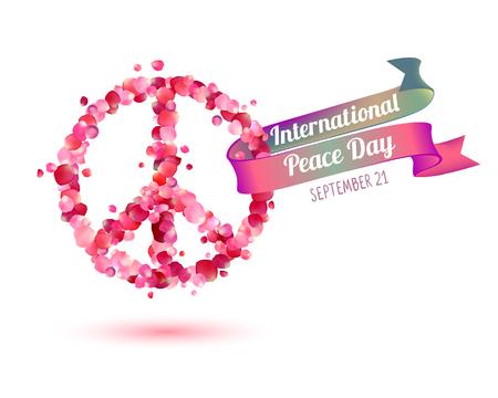 International Peace Day. September 21. Vector card of pink rose petals