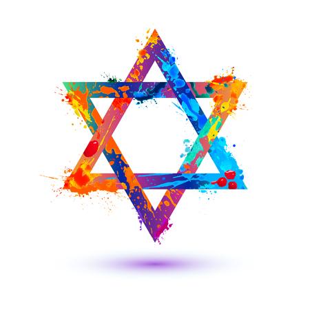 David star colorful vector symbol. Splash paint