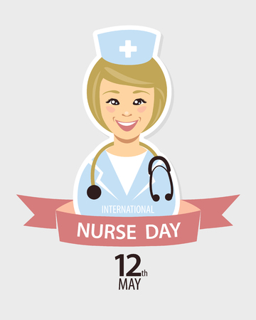 International nurse day. May 12th. Vector flat card