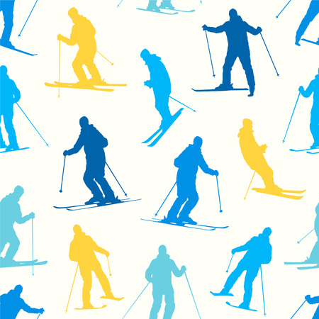 Seamless vector pattern - silhouette of a skiing man.