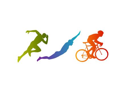 Triathlon vector silhouetten op een witte achtergrond Stock Illustratie