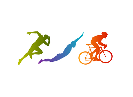 Triathlon vector silhouettes set on white background Ilustração