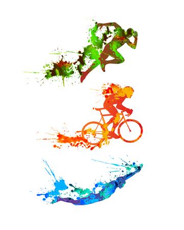 Zestaw akwareli wektorowych Triathlon. Splash paint silhouettes