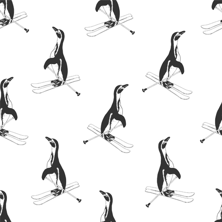 crosscountry: Seamless pattern - penguins on skis. Black and white Illustration