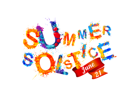 Summer solstice. June 21. Vector watercolor splash paint. Иллюстрация