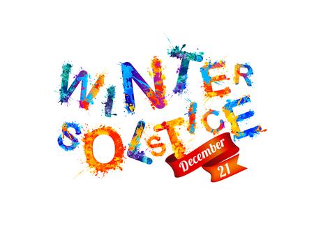 Winter solstice. December 21. Vector watercolor splash paint. 向量圖像
