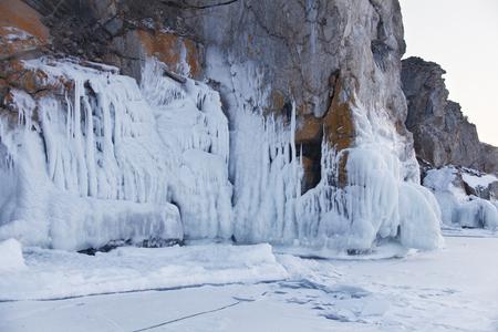 Icicles in Olkhon island rock. Lake Baikal. Winter landscape