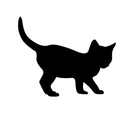 Kitten black silhouette on white backgruond Vector illustration.