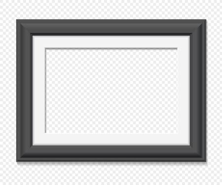 Horizontale rechteckigen schwarzen Rahmen, realistische Vektor-Illustration