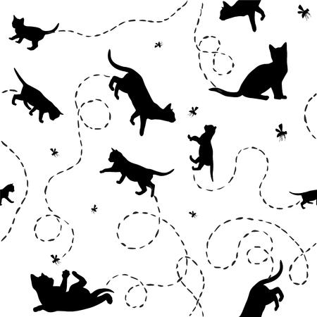Patrón de vector blanco y negro sin costura - gatitos y moscas