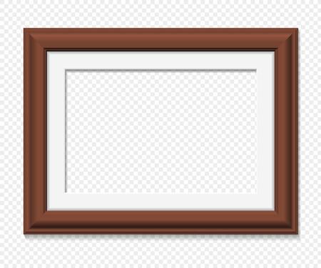 Horizontale rechteckigen braunen Rahmen, realistische Vektor-Illustration