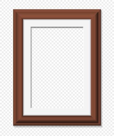 Vertical rectangular brown frame, realistic vector illustration
