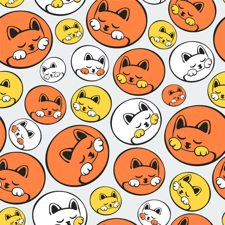Seamless vector pattern - cats curled up in a ball. Иллюстрация