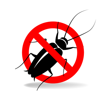 Anti cockroach vector simple sign for insecticide