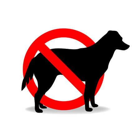 Les chiens ne sont pas autorisés à entrer un signe. Banque d'images - 76499344