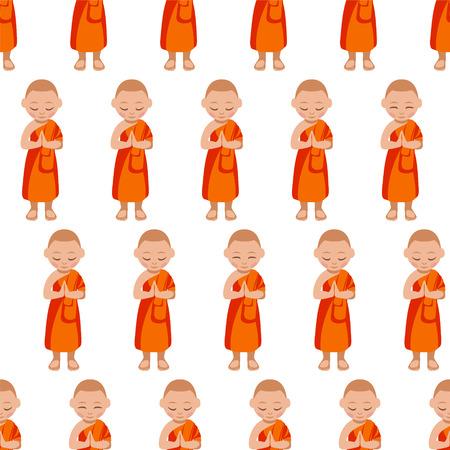 Buddhist monk boy praying. Seamless vector pattern