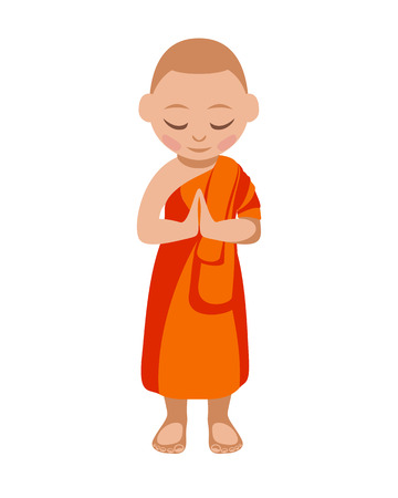 buddhist monk: Buddhist monk boy praying. Vector flat illustration Illustration