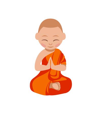Little boy buddhist monk in the orange robe praying. Vector flat illustration. Lotus position.