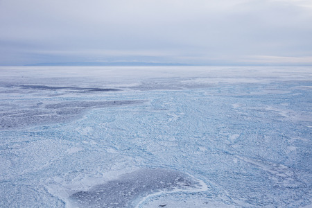 Ice field of hummocks on the small sea of Lake Baikal