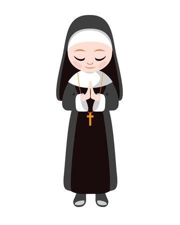 Soeur catholique soeur. Illustration de plat vecteur religieux