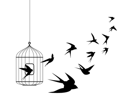 Liberation symbol. Swallow birds flying out of cage