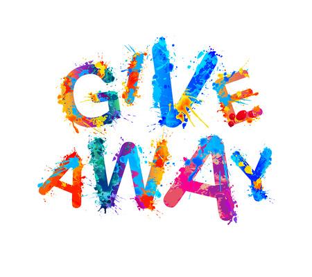 Giveaway. Social media icon. Vector watercolor splash paint
