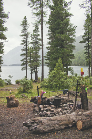 outdoor fireplace: Tourist campsite with fireplace. Shore of Multinskoe Lake, Altai. Russia