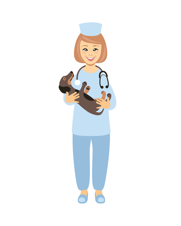 Doctor vet with puppy in arms. Vector illustration