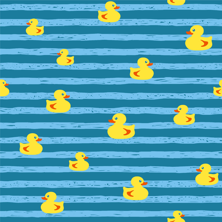 Seamless vector pattern - bath ducks on striped background