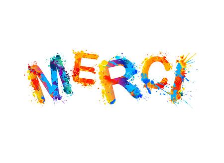 Inscription in French: Thank You (merci). Splash paint Illustration