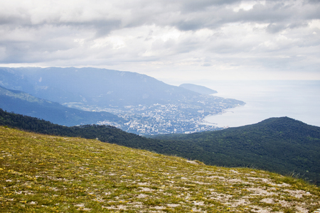 View of Yalta city from the Ai-Petri Mountain. Crimea landscape