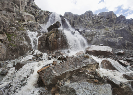 Aktru waterfall, Altai mountains landscape. Russian landmark Stock Photo