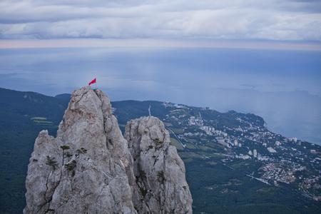 Ai-Petri rocks. Crimean mountains. Black sea coast and cloudy sky