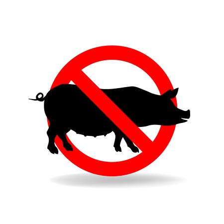 Do not litter vector sign. Crossed pig. No pork ymbol Illustration