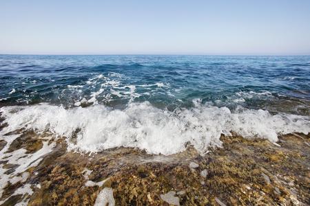 Foam wave, Ayia napa, Cyprus. Mediterranean sea landscape Banco de Imagens
