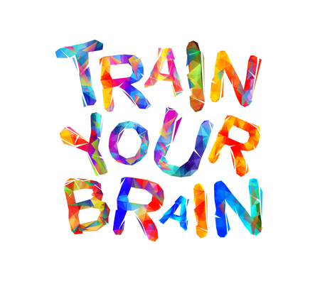 Train your brain. Vector triangular colorful letters Illustration