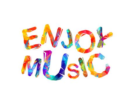 Geniet van muziek. Vector trianulaire kleurrijke opschrift Stock Illustratie