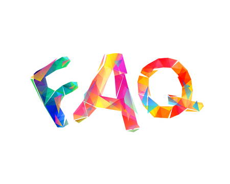 FAQ. Vector colorful triangular letters on white background 矢量图像