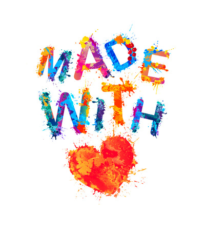 Made with love (heart symbol). Vector watercolor splash paint