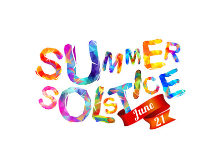 Summer solstice. June 21. Vector triangular letters