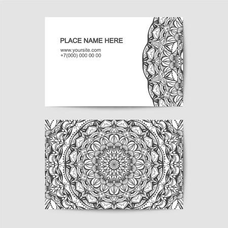 plantilla de la tarjeta de la visita con el modelo del cordón. En blanco y negro Ilustración de vector