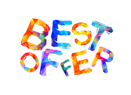 Best offer sign. Vector colorful triangular inscription