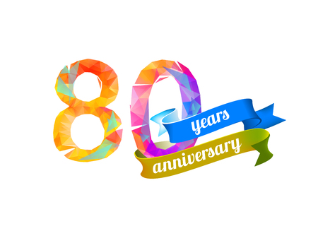 80th: 80 (eighty) years anniversary. Vector triangular digits