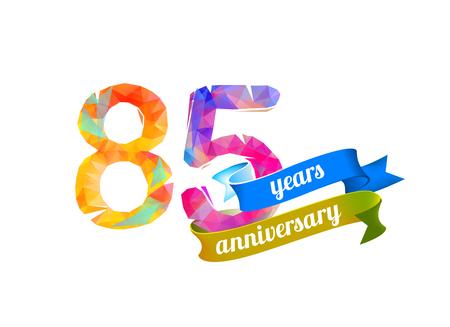 birthday party: 85 (eighty five) years anniversary. Vector triangular digits