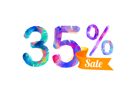 thirty percent off: 35 (thirty five) percents sale. Vector triangular digits Illustration