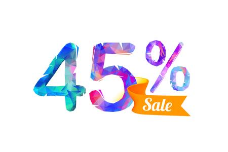 45 (forty five) percents sale. Vector triangular digits Illustration