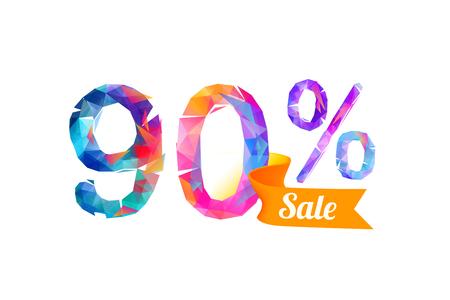 trade off: 90 (ninety) percents sale. Vector triangular digits Illustration