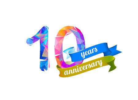 10th: 10 (ten) years anniversary. Vector triangular digits Illustration