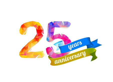 25 (twenty five) years anniversary. Vector triangular digits Illustration