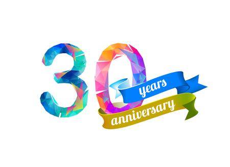 30 Thirty Years Anniversary Vector Watercolor Splash Paint